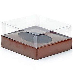 Caixa Ovo de Colher - Meio Ovo de 500g - Marrom - 20,5 x 17 x 6,5 cm - 5 un - Assk Rizzo Confeitaria