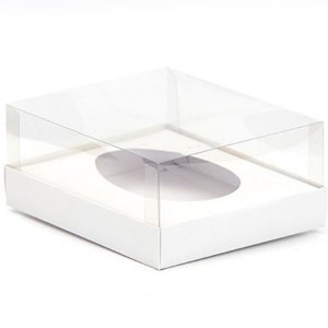 Caixa Ovo de Colher - Meio Ovo de 500g - Branca - 20,5 x 17 x 6,5 cm - 5 un - Assk Rizzo Confeitaria