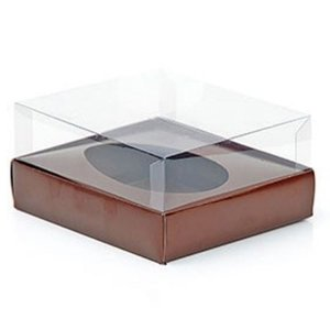 Caixa Ovo de Colher - Meio Ovo de 350g - Marrom - 20,5 x 17 x 6,5 cm - 5 un - Assk Rizzo Confeitaria