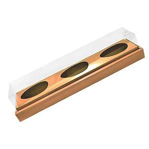 Caixa Ovo de Colher Triplo em Linha - Meio Ovo de 100g a 150g - Kraft - 8,5 x 39 x 8,5 cm - 5 un - Assk Rizzo Confeitaria