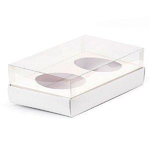 Caixa Ovo de Colher Duplo - Meio Ovo de 100g a 150g - Branca - 20 x 13 x 8,8 cm - 5 un - Assk Rizzo Confeitaria