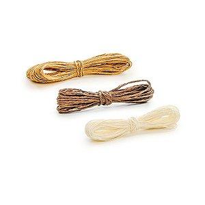 Kit Fio Decorativo Torcido 10 m Marrom, Marfim e Bege Cromus Rizzo Confeitaria