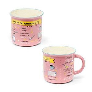 Caneca Cerâmica com Receita de Bolo Rosa 350ml Cromus Rizzo Confeitaria
