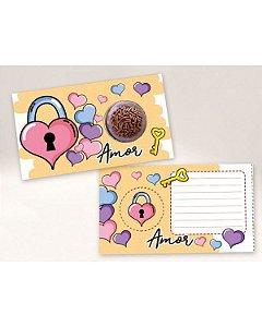Cartão Blister Cadeado Coração Ref. 550 com 10 un. Erika Melkot Rizzo Confeitaria