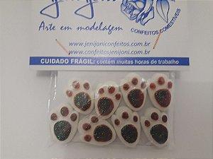 Confeitos comestíveis Patas de Coelho Laranja Esverdeado Ref. Jeni Joni Rizzo Confeitaria