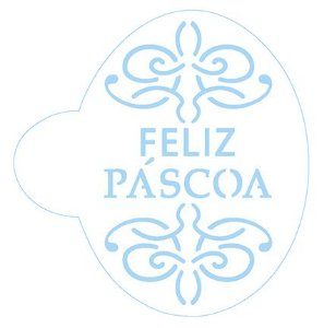 Stencil Arabesco Feliz Páscoa SC2-033 Litoarte Rizzo Confeitaria