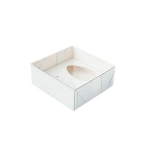 Caixa Ovo de Colher - Meio Ovo 50g - Branco - 10 x 10 x 4 cm - 5 un - Assk Rizzo Confeitar