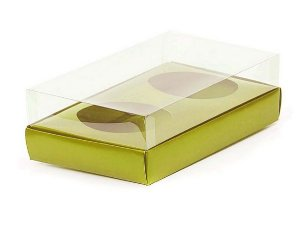 Caixa Ovo de Colher Duplo - Meio Ovo de 100g a 150g - Ouro - 20 x 13 x 8,8 cm - 5 un - Assk Rizzo Confeitaria