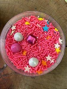 Fairy Sprinkles Colorido com Rosa Estrelas Coloridas Especial 150 gr Rizzo Confeitaria