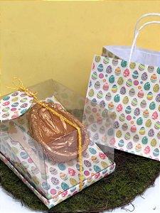 Kit Caixa Inclinada com Sacola - Ovos Coloridos - Ovos 350g ou 500g Decora Doces Rizzo Confeitaria