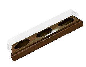 Caixa Ovo de Colher Triplo em Linha - Meio Ovo de 100g a 150g Marrom - 8,5 x 39 x 8,5 cm - 5 un - Assk Rizzo Confeitaria