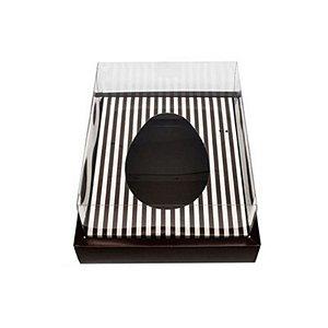 Caixa Ovo de Colher com Moldura - Meio Ovo de 350g - Marrom com Listras - 23 x 19 x 10 cm - 5un - Assk Rizzo Confeitaria
