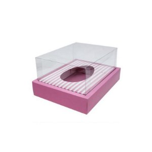 Caixa Ovo de Colher com Moldura - Meio Ovo de 250g - Rosa com Listras 20 x 15,5 x 10 cm - 5un - Assk Rizzo Confeitaria