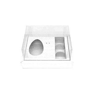 Caixa Ovo de Colher com Moldura 3 Bombons - Meio Ovo de 100g a 150g - Branca - 20 x 15 x 10 cm - 5un - Assk Rizzo Confeitaria