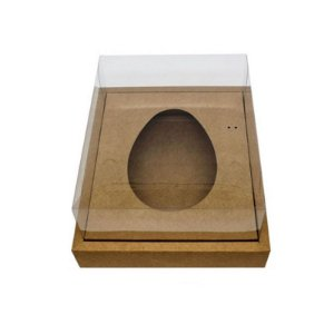 Caixa Ovo de Colher com Moldura - Meio Ovo de 500g - Kraft - 23 x 19 x 10 cm - 5 un - Assk Rizzo Confeitaria