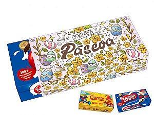 Capa Caixa de Chocolate Feliz Páscoa Ref. 861 com 3 un. Erika Melkot Rizzo Confeitaria