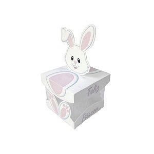 Caixa Acrílica de Páscoa Coelha Rosa 5 X 5 cm Rizzo Confeitaria