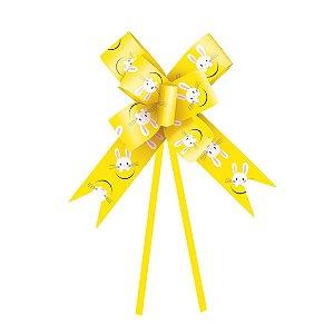 Laço Pronto Coelho Fantasia Amarelo 23mm - 10 unidades - Cromus Páscoa - Rizzo Confeitaria