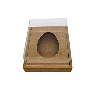 Caixa Ovo de Colher com Moldura - Meio Ovo de 250g - 20cm x 15,5cm x 10cm - Kraft - 5 unidades - Assk Rizzo Confeitaria
