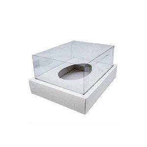 Caixa Ovo de Colher com Moldura - Meio Ovo de 250g - 20cm x 15,5cm x 10cm - Branca - 5 unidades - Assk Rizzo Confeitaria