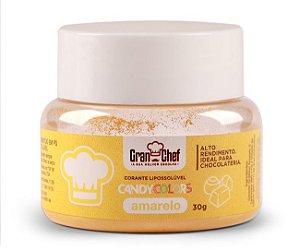 Corante em Pó Lipossolúvel Candy Colors Amarelo 30g Granchef Rizzo Confeitaria