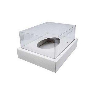 Caixa Ovo de Colher com Moldura - Meio Ovo de 500g - Branco - 23 x 19 x 10 cm - 5 un - Assk Rizzo Confeitaria