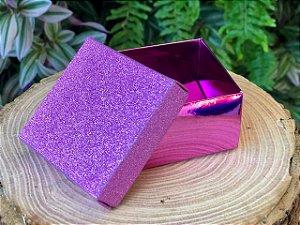 Caixa Quadrada Gliter Rosa com 12un. ArtLille  Rizzo Confeitaria