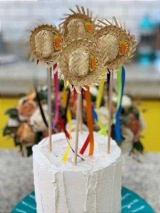 Palito Decorativo de Festa Junina Chapéu de Palha 4 un. Vivarte Rizzo Confeitaria