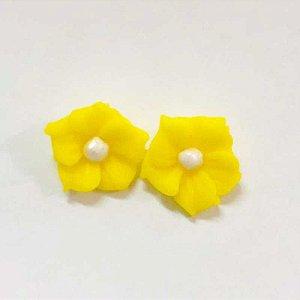 Confeitos Comestíveis Flor Misiotes Amarela - Flores e Encantos de Açúcar Rizzo Confeitaria
