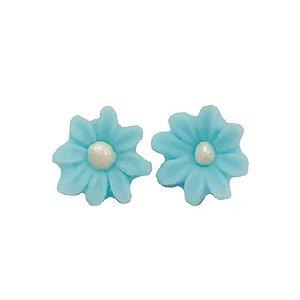 Confeitos Comestíveis Flor Margarida Azul - Flores e Encantos de Açúcar Rizzo Confeitaria