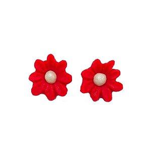 Confeitos Comestíveis Flor Margarida Vermelha - Flores e Encantos de Açúcar Rizzo Confeitaria