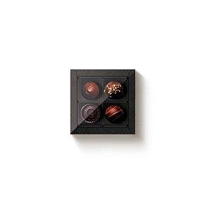Caixa Quadrada com Tampa Cristal 4 doces Preta com 5 un. Cromus Rizzo Confeitaria
