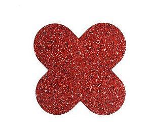 Forminha 4 Pétalas Glitter Vermelho Cod. 10.86 com 50 un. Nc Toys Rizzo Confeitaria