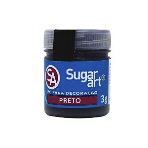 Pó para Decoração Preto Cintilante 3g Sugar Art Rizzo Confeitaria