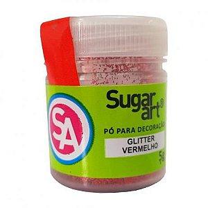 Pó para Decoração, Gliter Vermelho 5g Sugar Art Rizzo Confeitaria