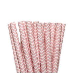 Canudo de Papel Missoni Rosa Claro - 20 unidades - ArtLille - Rizzo Confeitaria