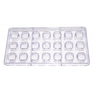 Forma para Chocolate em Plástico Resistente Quadrado Prime Chef Rizzo Confeitaria