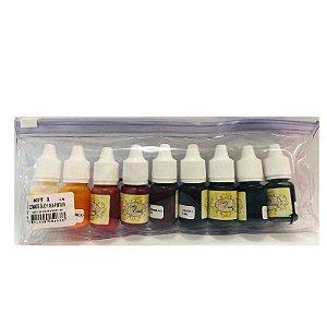 Corante Colorê Óleo para Pintura Kit 1 com 9 cores Lully Rizzo Confeitaria