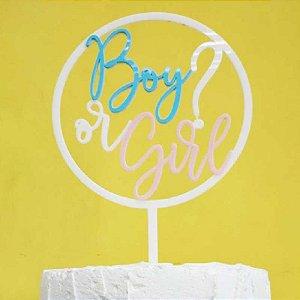Topo de Bolo Boy or Girl - Chá Revelação Vivarte Rizzo Confeitaria