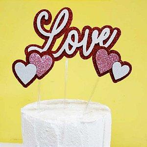 Topo de Bolo Love com Corações Vivarte Rizzo Confeitaria