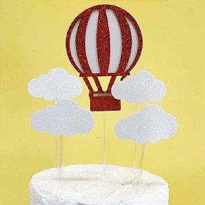 Topo de Bolo Balão e Nuvens Vivarte Rizzo Confeitaria