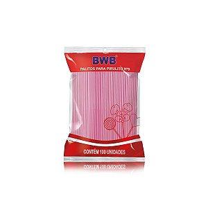 Palito para Pirulito Pequeno Rosa Translúcido com 100 un. BWB Rizzo Confeitaria