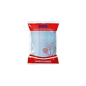 Palito para Pirulito Pequeno Azul Translúcido com 100 un. BWB Rizzo Confeitaria