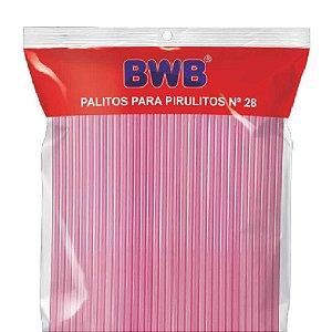 Palito para Pirulito Grande Rosa Translúcido com 50 un. BWB Rizzo Confeitaria