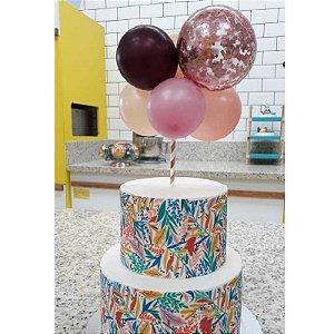 Topo de Bolo Mini Balões Rose Rizzo Confeitaria