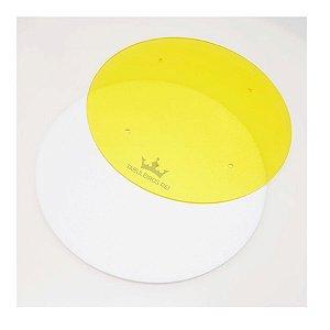 Disco para Acabamento com Ganachê Amarelo 21cm Tabuleiros Rei Rizzo Confeitaria