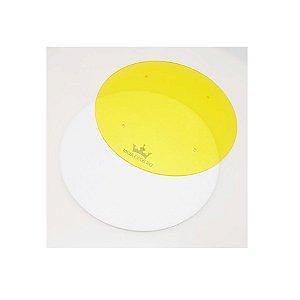 Disco para Acabamento com Ganachê Amarelo 16cm Tabuleiros Rei Rizzo Confeitaria