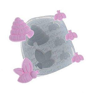 Molde de Silicone Mini Abelhas e Colmeia Ref. 141 Flexarte Rizzo Confeitaria