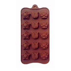 Forma de Silicone Chocolate Flor e Rosas Le chef Rizzo Confeitaria