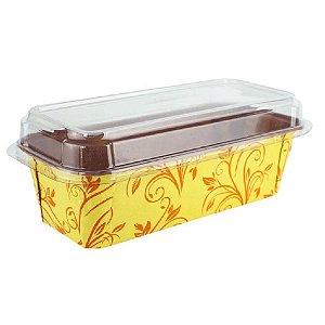 Forma Forneável p Bolo Inglês Com Tampa 5 unidades G Amarela Plumpy Ecopack Rizzo Confeitaria